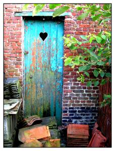 old door heart cutout